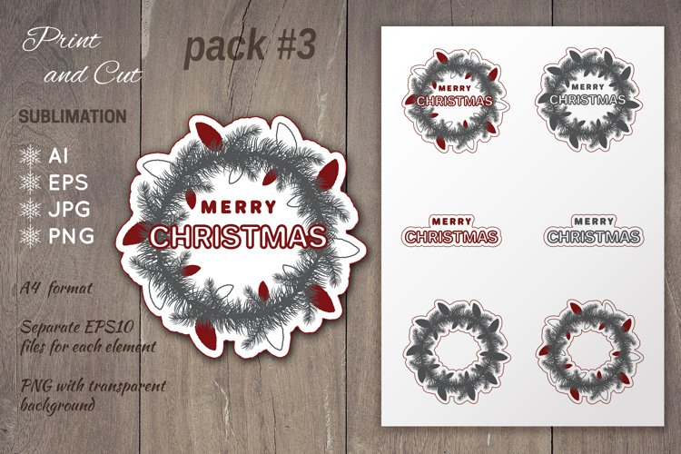Christmas wreath sublimation | Print and Cut Stickers Pack#3 example image 1