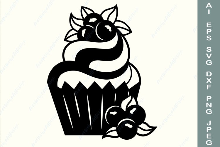 Cupcake svg, Cupcake monogram, Dessert svg, Silhouette
