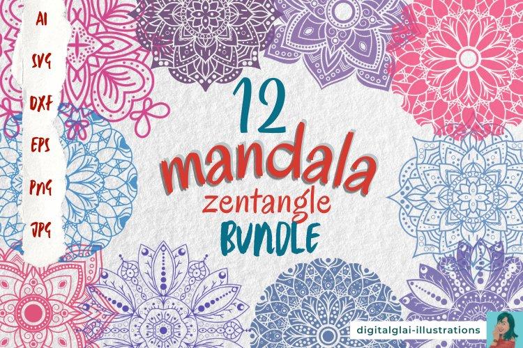 Mandala SVG Zentangle Bundle | 12 Cut Files