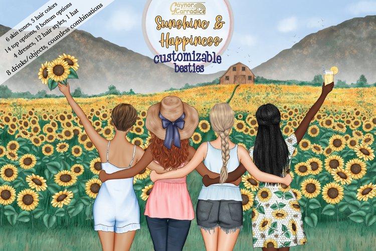 Summer Besties - Customizable best friends clipart