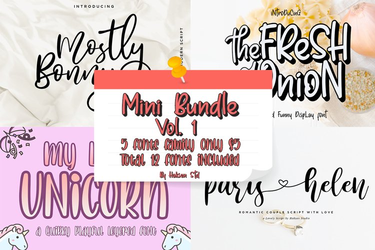 Mini Bundle Vol. 1 // 5 Families Font Only $5 example image 1
