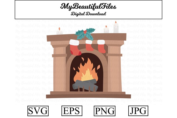 Decorated Fireplace SVG - Cute Christmas SVG, EPS, PNG