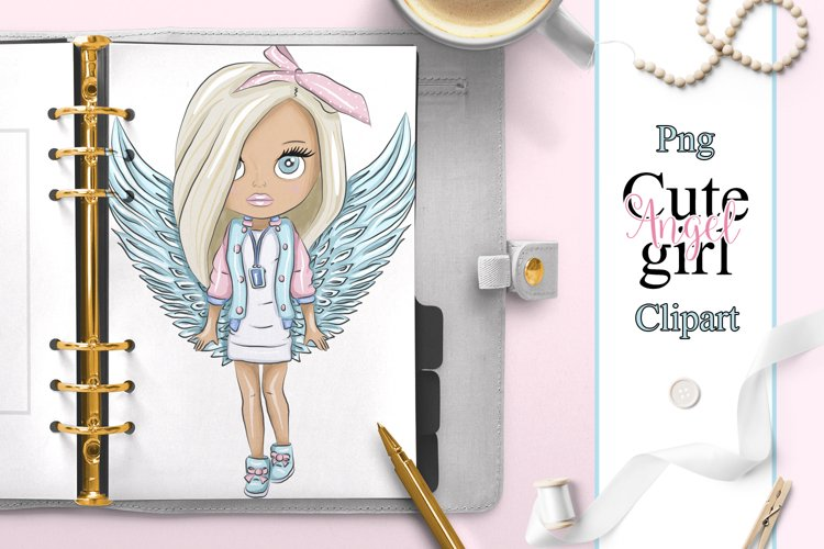 Girl doll angel planner clipart example image 1