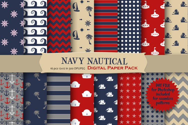 Navy Nautical Pattern Digital Paper example image 1