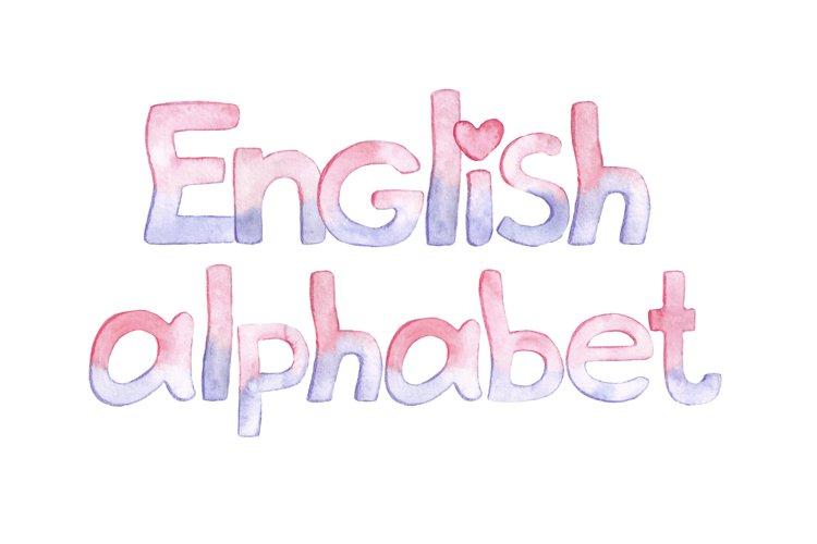 English alphabet watercolor