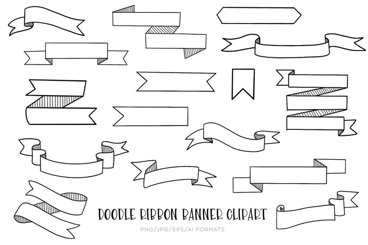 Doodle Ribbon Banner Vector Clipart