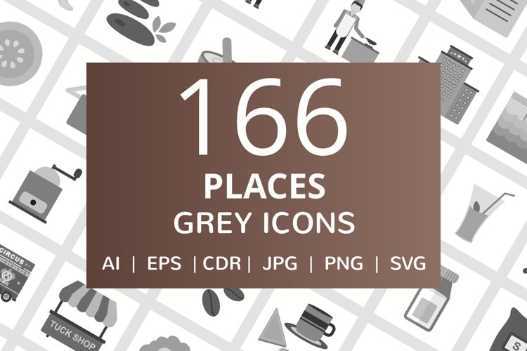 166 Places Flat Greyscale Icons example image 1