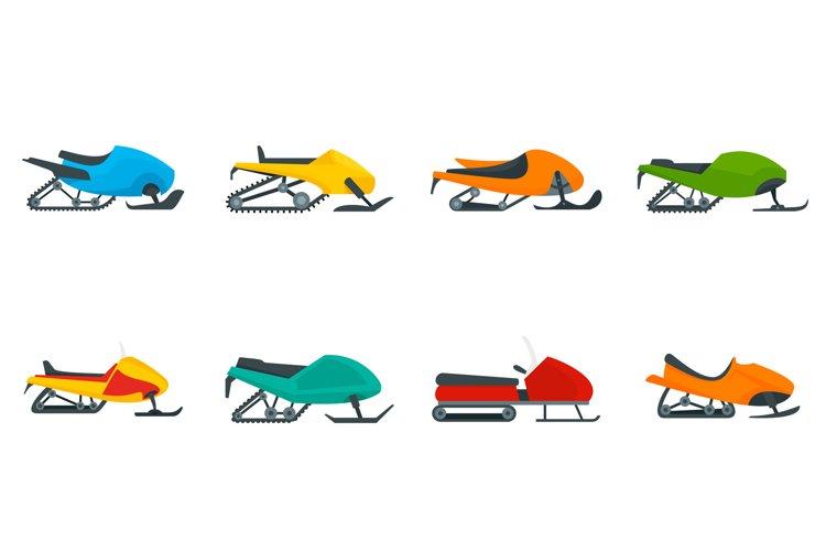 Snowmobile icon set, flat style example image 1