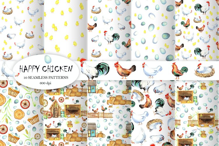 Happy Chicken Seamless patterns example image 1