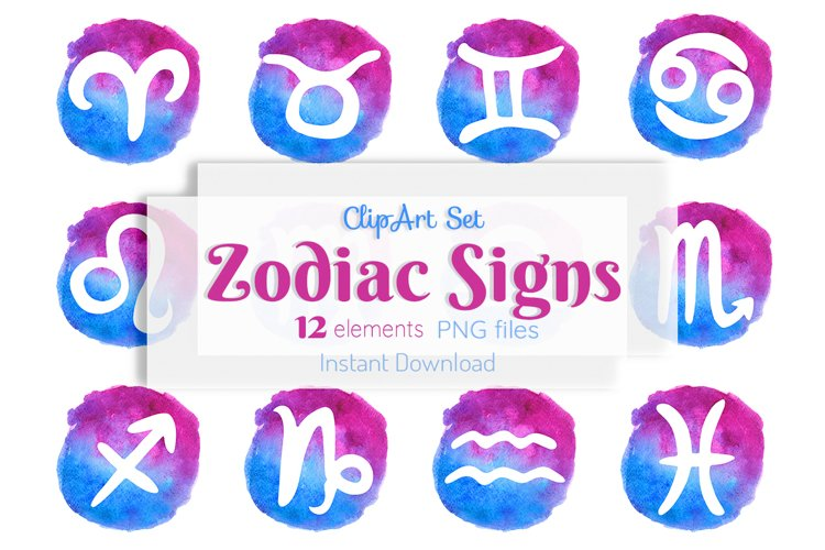 Zodiac signs clipart Horoscope symbols Watercolor Astrology example image 1
