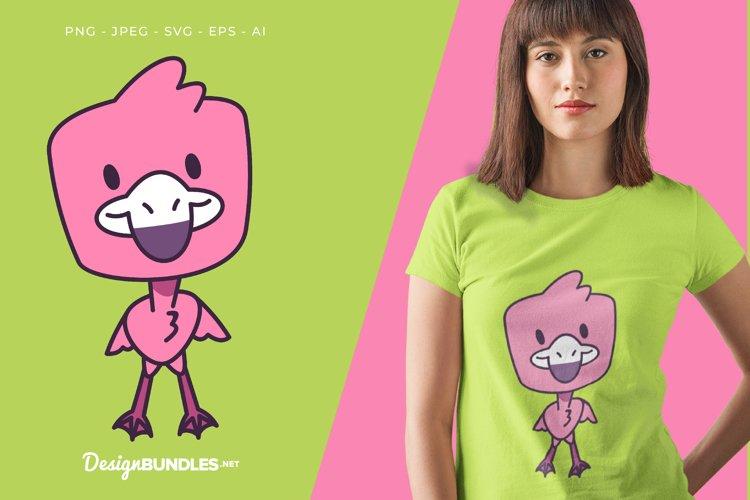 Smiling Flamingo Vector Illustration For T-Shirt Design example image 1