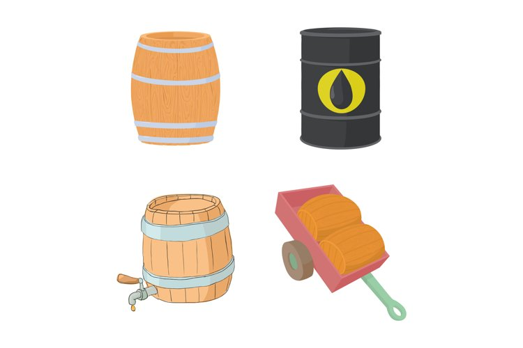 Barrel icon set, cartoon style example image 1