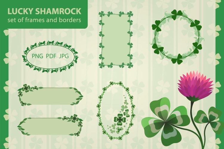 Lucky Shamrock vector clip art, Floral frames and borders