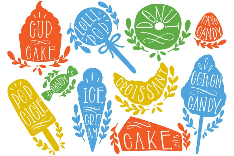 Sweet food silhouette text