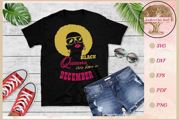 Black queens are born in December birthday t shirt design example image 1