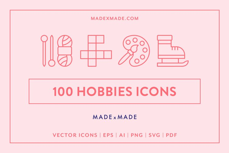 Line Icons - Hobbies example image 1