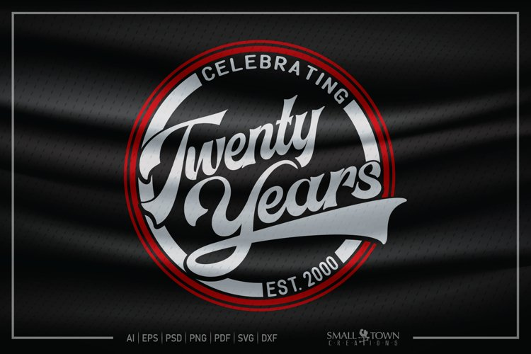 20 years, 2000, Twenty Years svg, 20th, PRINT, CUT, DESIGN example image 1
