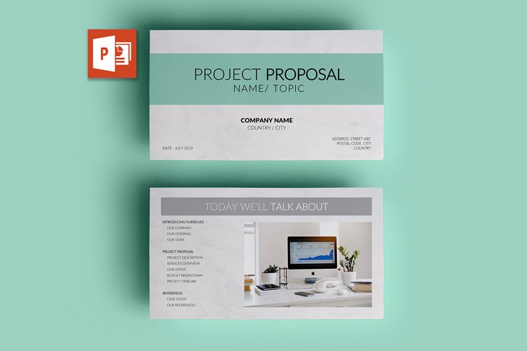 PPT Template | Project Proposal - Green and Marble example image 1