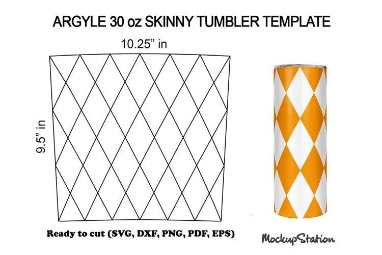 Argyle 30oz Skinny Tumbler Template SVG, DXF, PNG