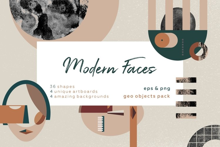 Abstract modern geometric faces. Patterns and graphics