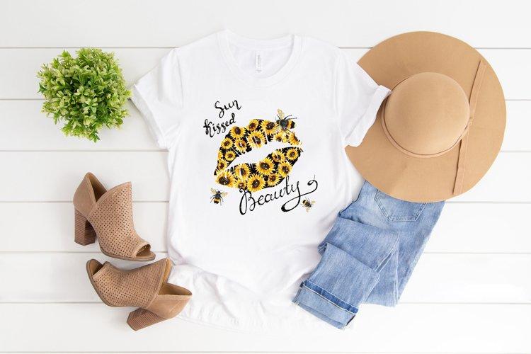 Sun kissed beauty sublimation png, Summer t-shirt design