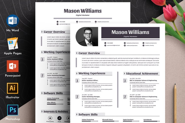 Professional Editable Resume Cv Template in Word Apple Pages