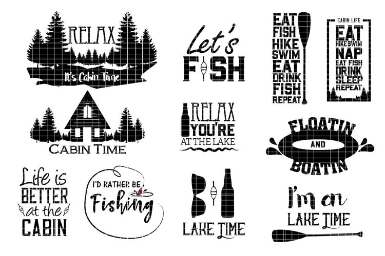Cabin and lake svg design files example image 1