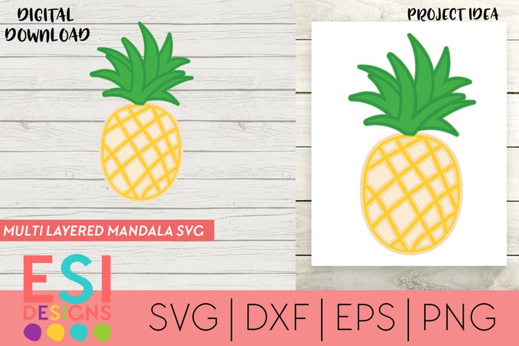 Multi Layered Mandala 3D SVG | Pineapple | Summer SVG