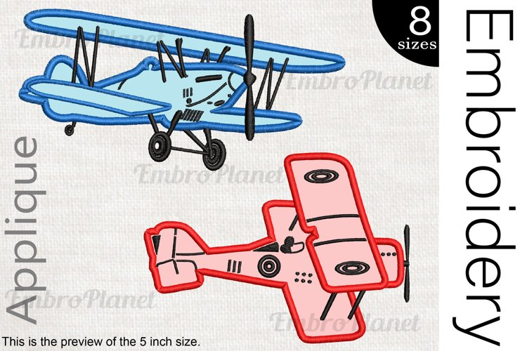 Old Planes Applique - Embroidery Files - 1475e example image 1