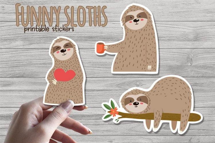 Funny sloths -Printable stickers