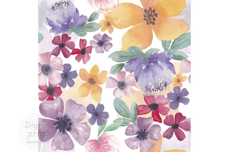 Watercolor flowers seamless pattern Colorful flowers clipart example image 1