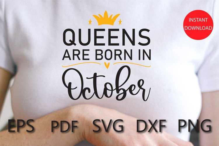 Queens are Born in October SVG example image 1
