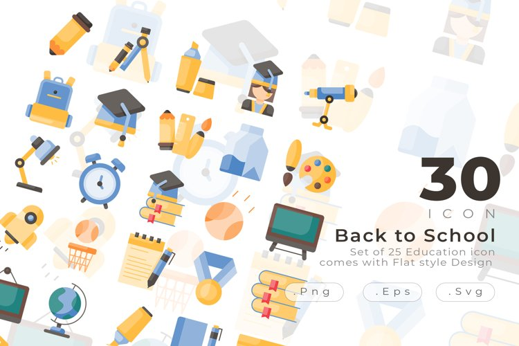Set of 30 Education icon come with flat design example image 1