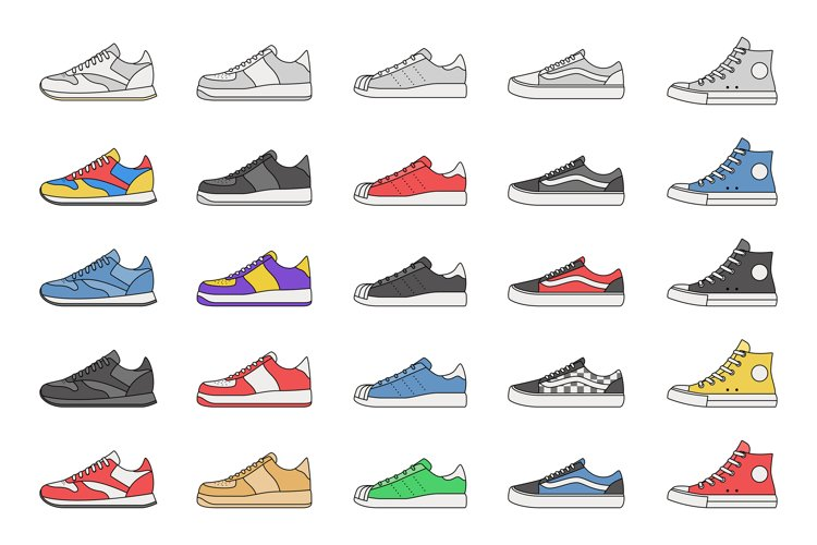 Sneakers collection symbols example image 1