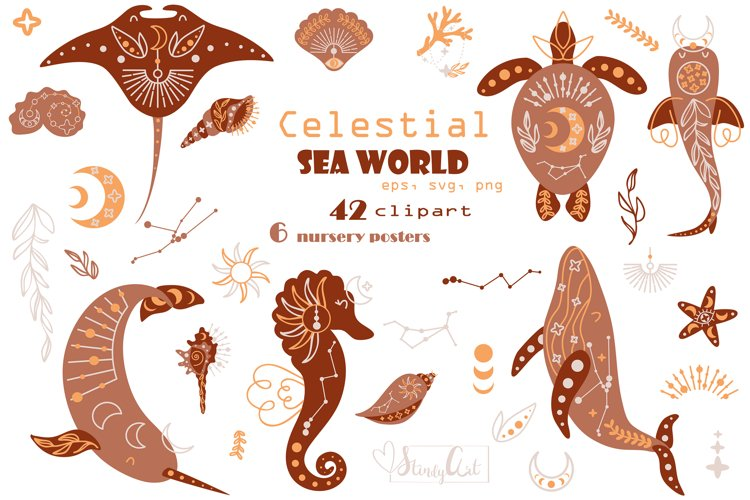 Celestial sea worls - SVG/PNG clipart and nursery posters