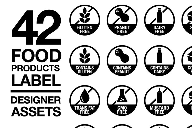 42 Food Allergy & Products Label Version 2 SVG AI EPS