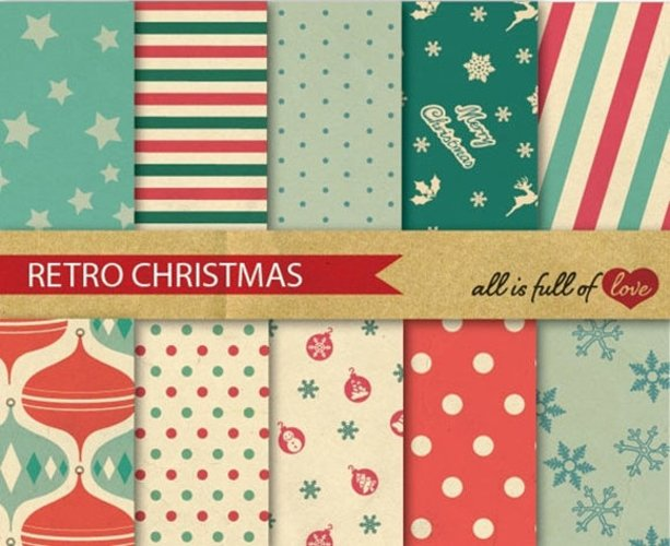 Retro Christmas Digital Paper Xmas Decor Background Patterns in red and green Vintage style example image 1