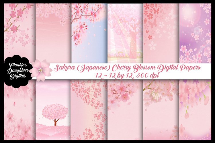 Sakura Japanese Cherry Blossom Digital Papers example image 1