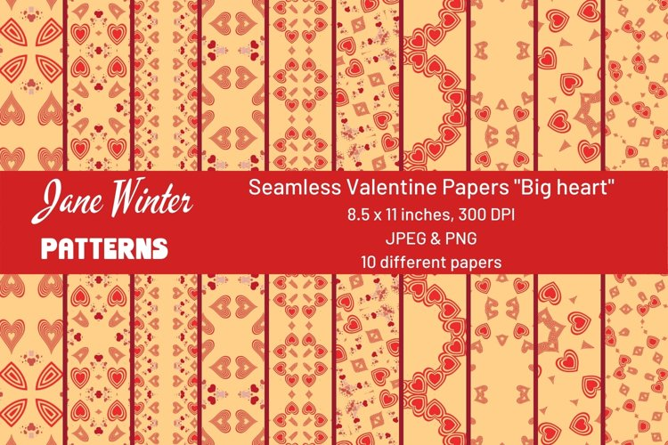 Seamless Valentine Papers Big heart
