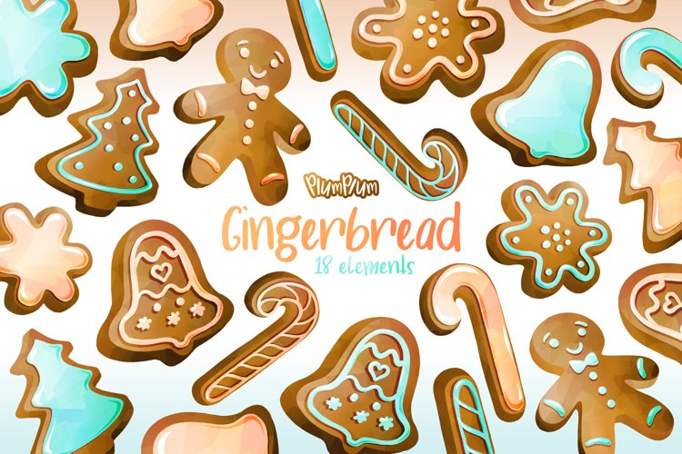 Gingerbread Watercolor Cliparts example image 1