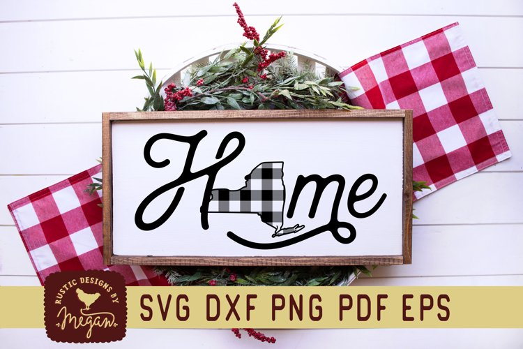 New York Buffalo Plaid State SVG DXF Cut File example image 1