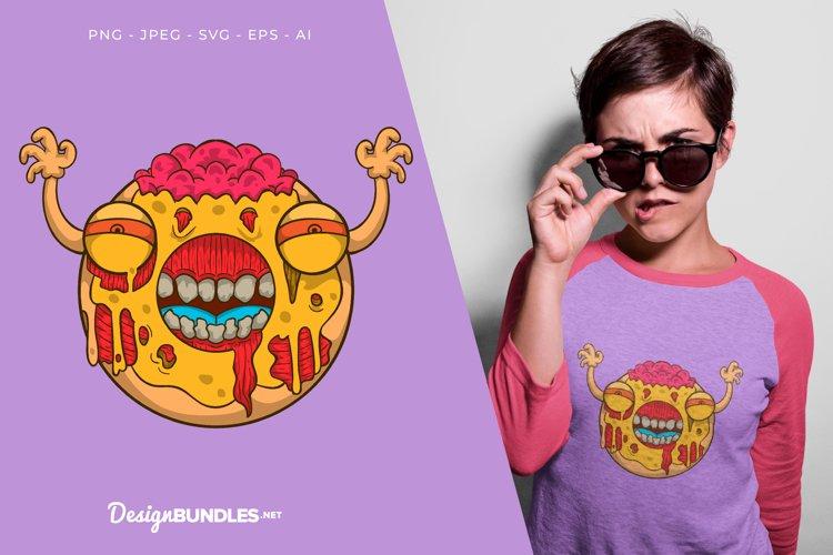 Scary Lemon Donut Monster Vector Illustration For T-Shirt