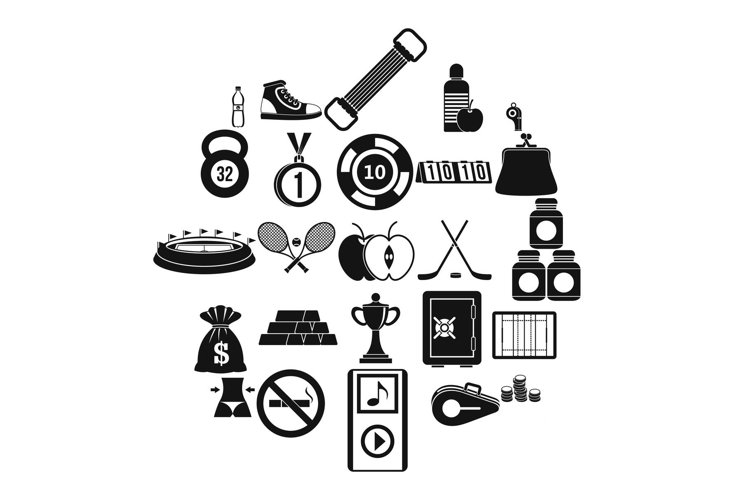 Sports nutrition icons set, simple style example image 1