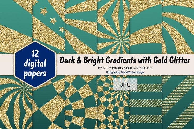 Sunburst & Hatch Stripes - Gradients with Gold Glitter #20