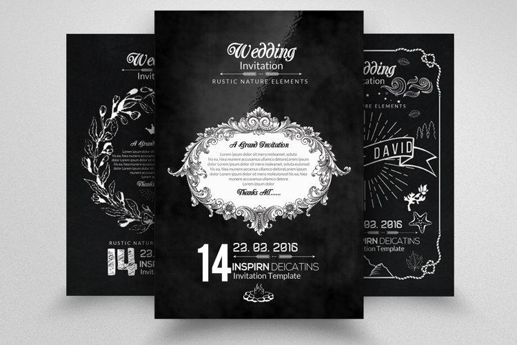 3 Chalkboard Wedding Invitation Cards example image 1