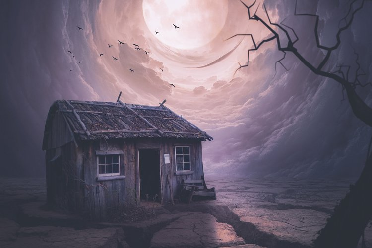 The moon illuminates the house. Mystic example image 1