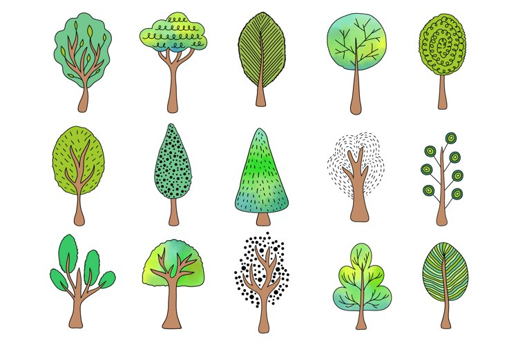 Hand drawn trees and pattern