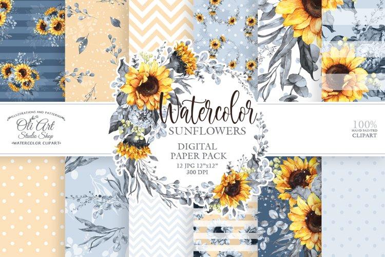 Watercolor sunflower art digital backgrounds