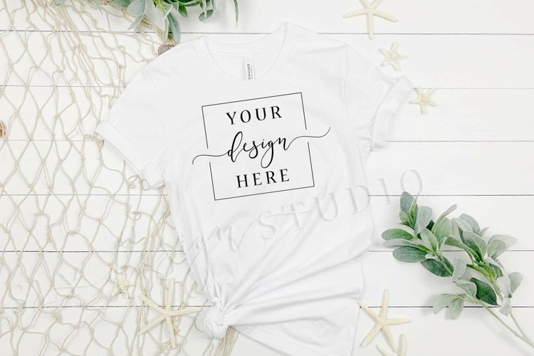 White Beach Shirt Mockup | White Bella Canvas 3001 Summer