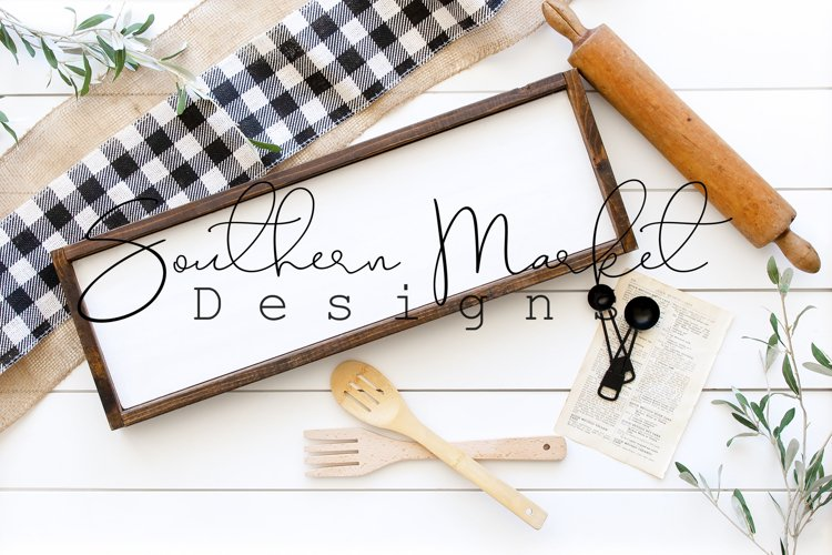 Framed 8x24 Sign Mock Up Kitchen Themed Farmhouse Styled
